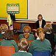 'Hox' author Annemarie Allan reads to children at Drumlanrig St Cuthbert's Primary School, Hawick