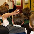 Annemarie Allan reads to children at Drumlanrig St Cuthbert's Primary School, Hawick