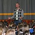 Author Allan Burnett reads at Hawick High School