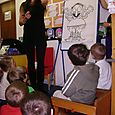 Author Rachel Bright visits Trinity Primary School Nursery Class, Hawick