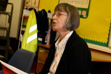 'Hox' author Annemarie Allan reading at Drumlanrig St Cuthbert's Primary School, Hawick