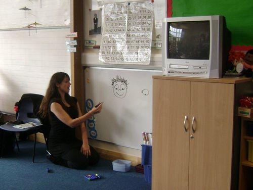 Author Rachel Bright in action at Denholm Primary School
