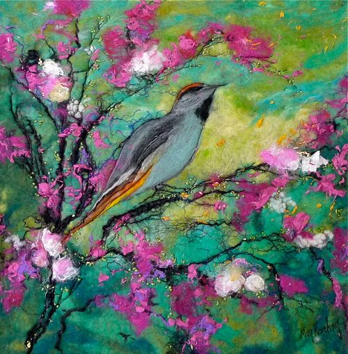 Waxwing with Lime and Cherry Blossom